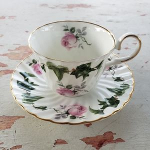Vintage rose and ivy tea cup and saucer
